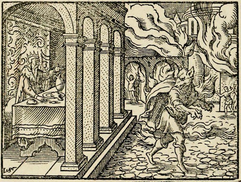 Lycaon. Gravure de Vergilius Solis (1514-1562) - werewolf