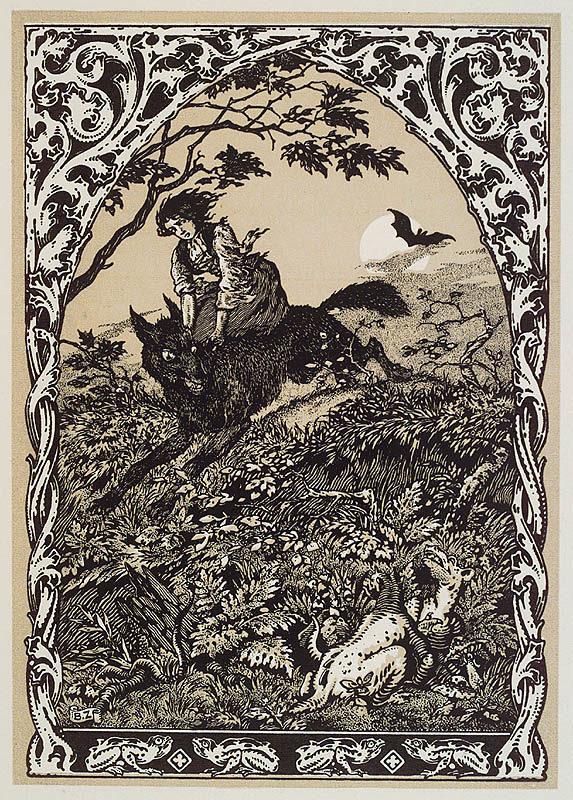 Witch riding a black wolf by Bernard Zuber
